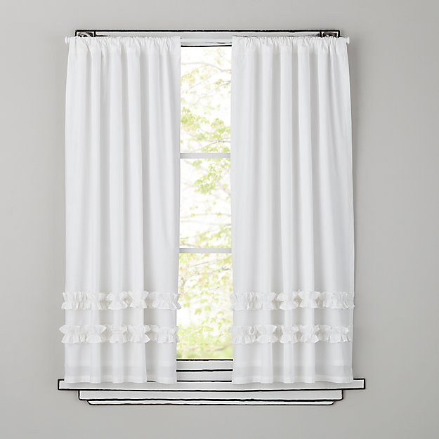 "Ruffle White 84"" Curtain"