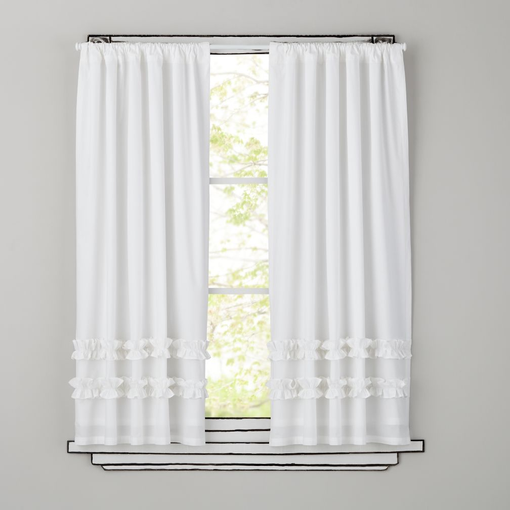 "Ruffle White 96"" Curtain"