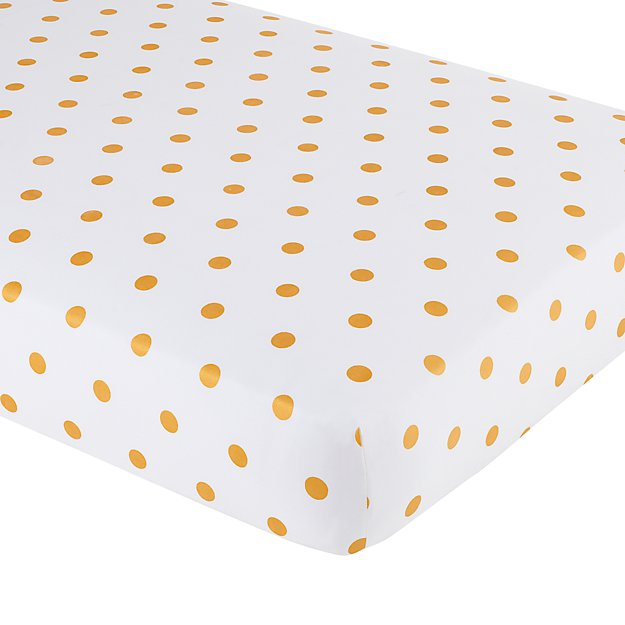 Organic Gold Dot Crib Fitted Sheet