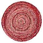 5' dia. Ring Around the Ribbon Pink Round Rug
