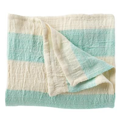 Lightly Striped Baby Blanket (Aqua)