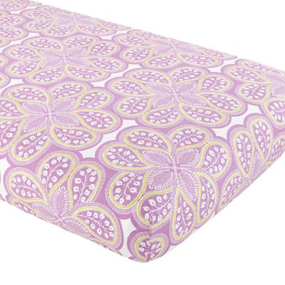 Mosaic Paisley Crib Fitted Sheet (Lavender Floral)