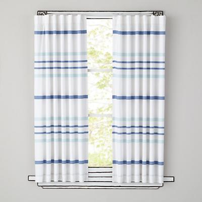 "63"" Wide Ruled Curtain Panel (Blue)"