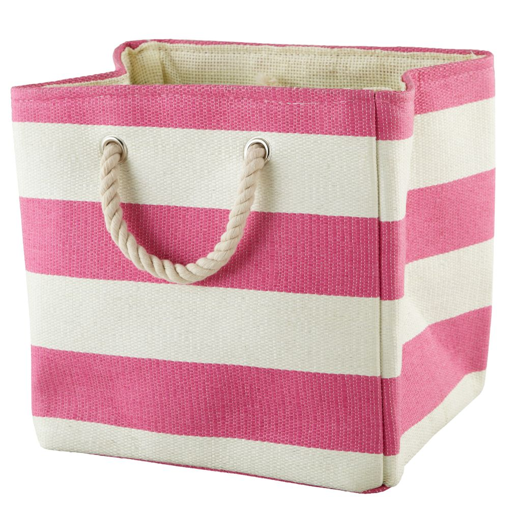 Stripes Around the Cube Bin (Pink)