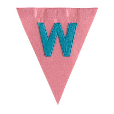 W Print Neatly Pennant Flag (Girl)