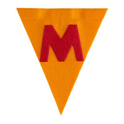 M Print Neatly Pennant Flag (Boy)