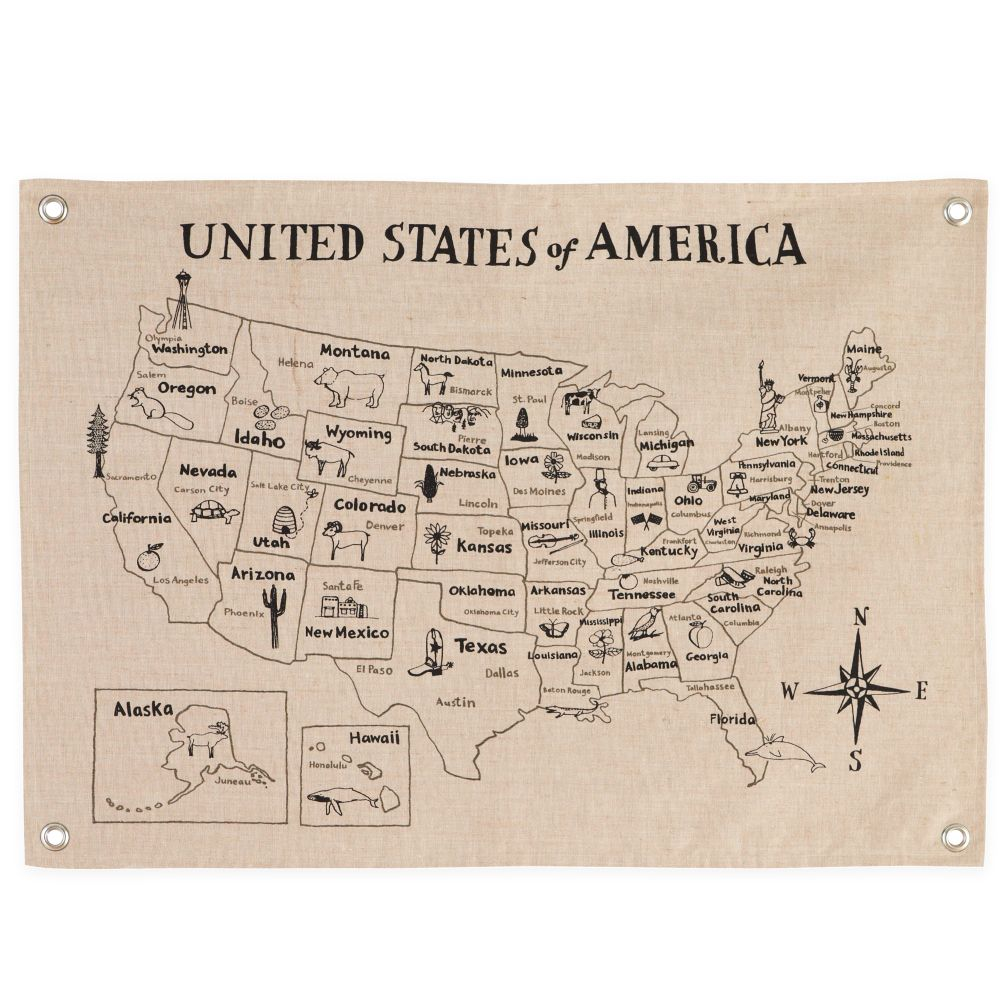 Kids Wall Map The Land Of Nod - Us wall map for kids