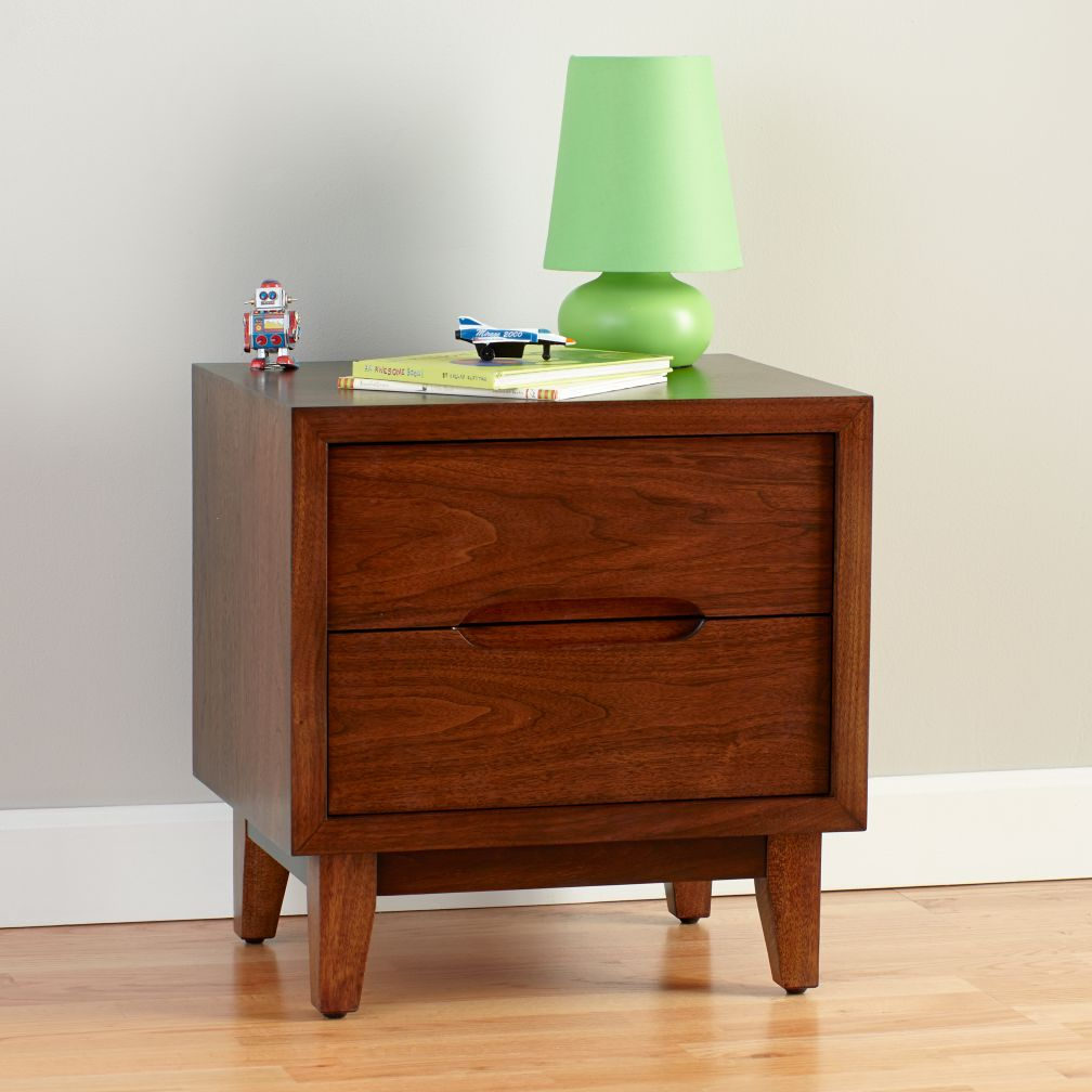 ellipse walnut nightstand  the land of nod -