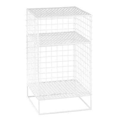 White On the Grid 2-Cube Nightstand
