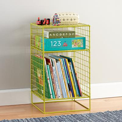 Lime On the Grid 2-Cube Nightstand