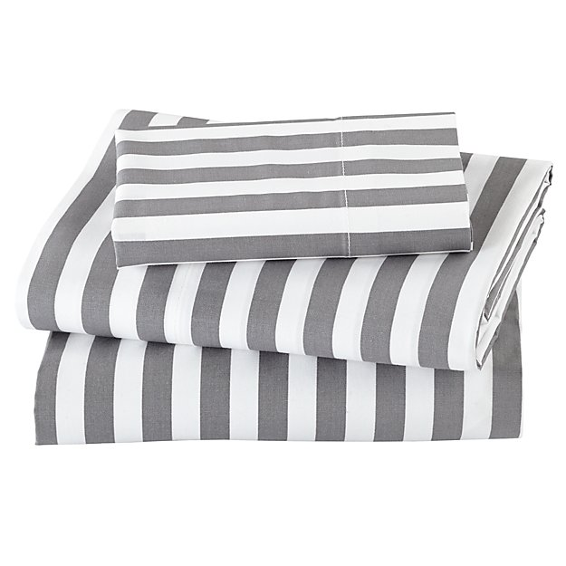Organic Not a Peep Grey Stripe Toddler Sheet Set
