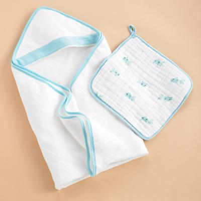 Wash Up Hooded Towel  & Washcloth Set (Blue)