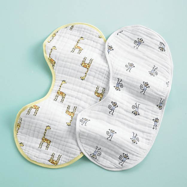 aden + anais Giraffe and Monkey Burpy Bib Set