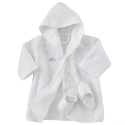 Personalized Bath Robe and Slippers (Blue)