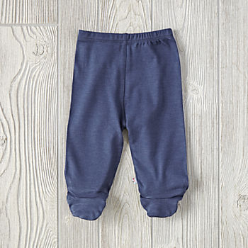0-3 Months Babysoy Footie Pants (Navy)