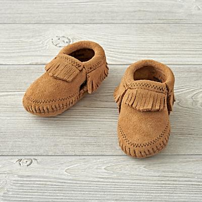 Minnetonka Riley Tan Baby Bootie Size 1 (0-3 Months)