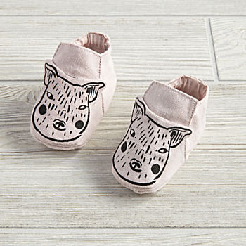 0-6 Months Farmland Booties (Pink Pig)