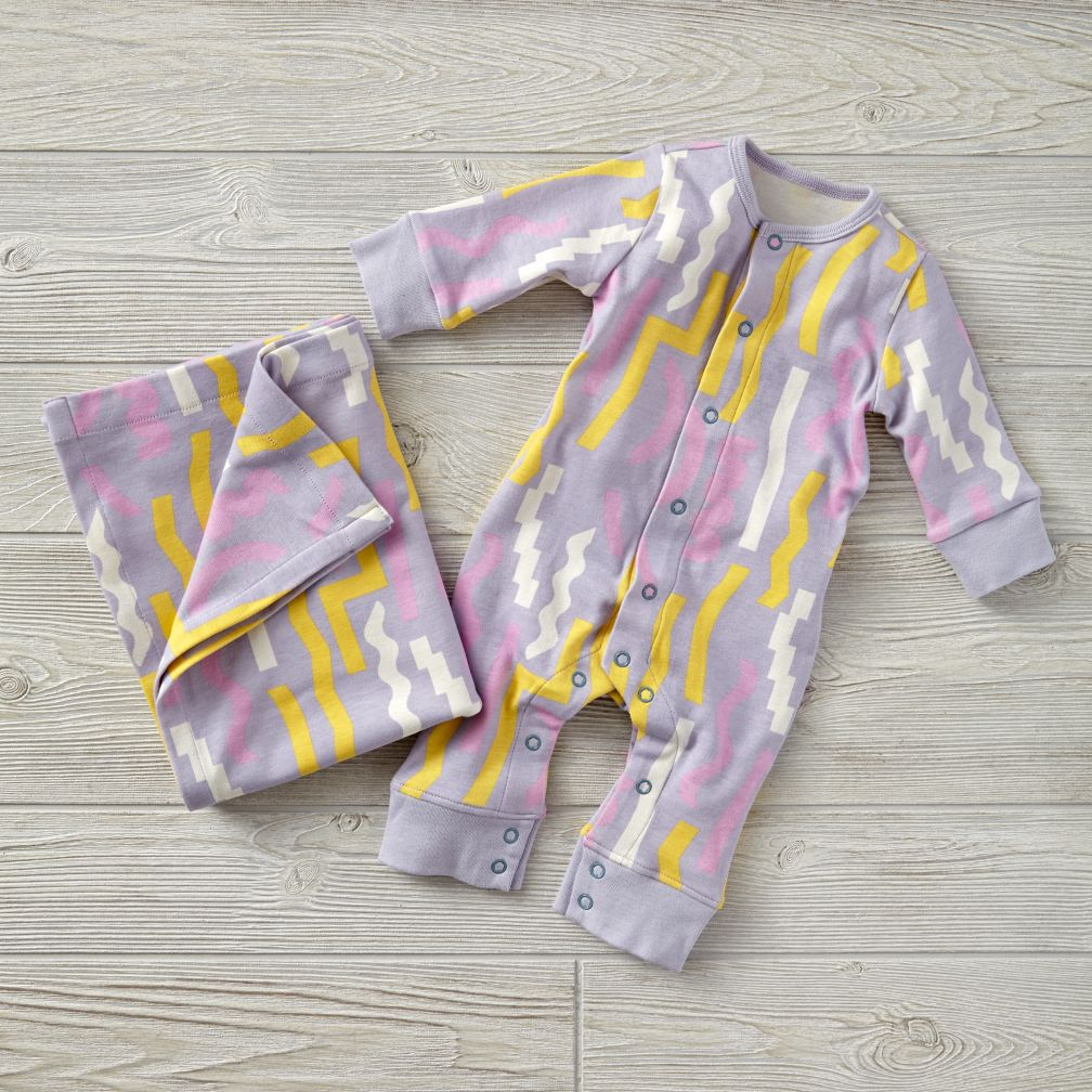 Dusen Dusen Purple Romper & Blanket Set