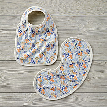 Organic Garden Patch Lavender Bib and Burp Cloth Set