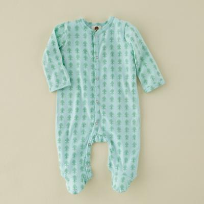 0-3 mos. Lt. Green Fleur Long Sleeve Footie