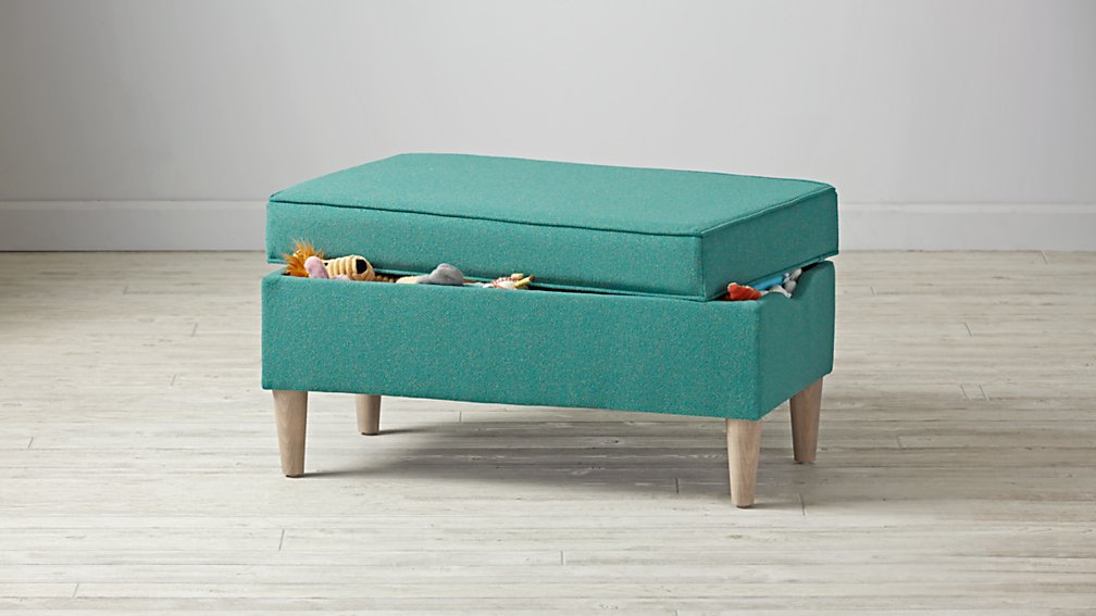 Upholstered Storage Bench (Galaxy Turquoise)