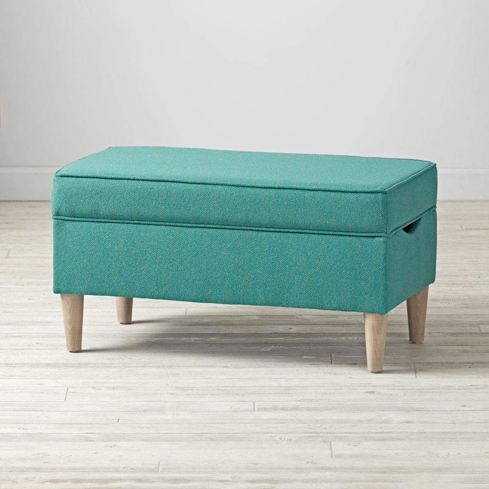 kids storage ottomans  the land of nod - upholstered storage bench (galaxy turquoise)