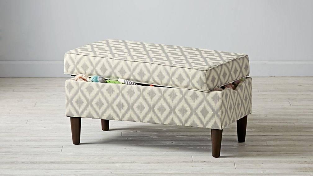 Upholstered Storage Bench (Ikat Fret)