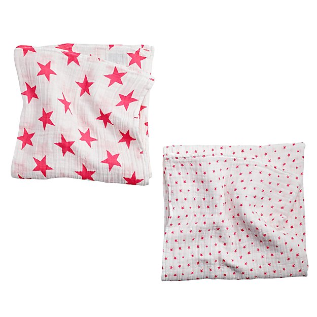 aden + anais Pink Star Swaddle Blankets (Set of 2)