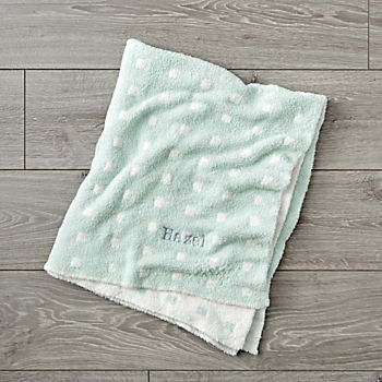 Simple Pattern Personalized Mint Baby Blanket