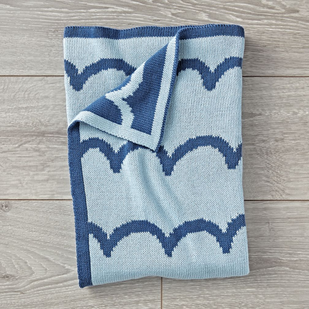 Wavy Knit Baby Blue Blanket