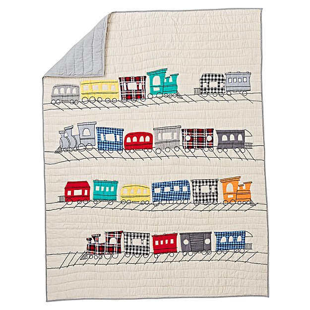 All Aboard Applique Train Baby Quilt