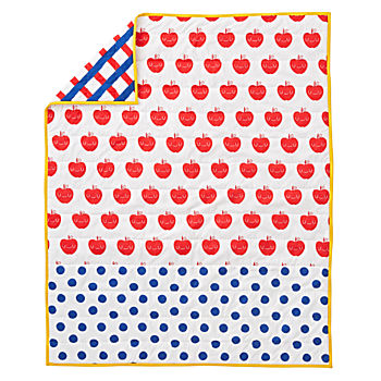 Apple Orchard Red and Blue Baby Quilt