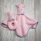 Pig Plush Pair Lovey & Rattle.
