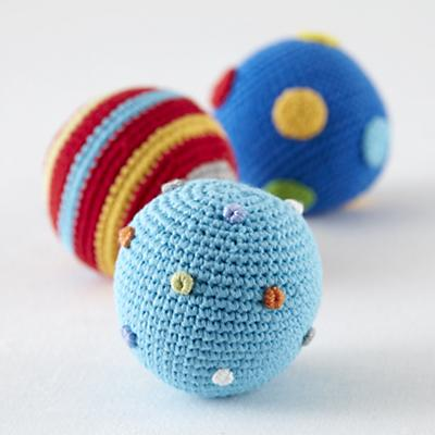 Knit Ball Rattles Set of 3