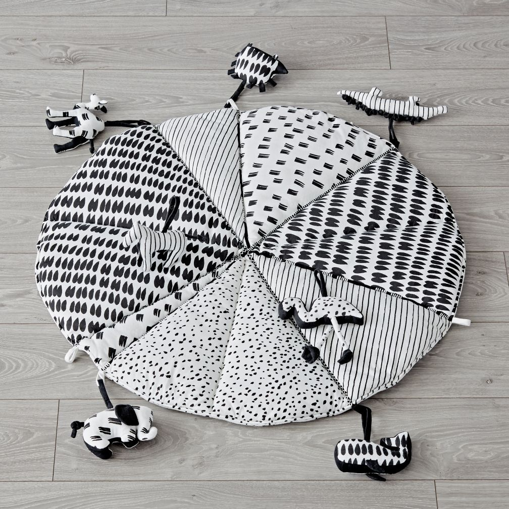 Toddler Toys Black And White : Black and white baby play mat with rattles the land of nod