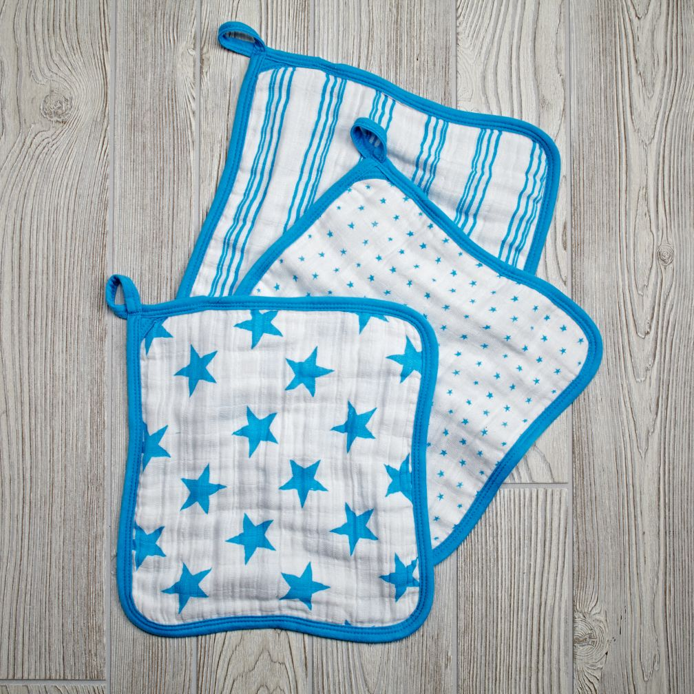aden + anais Blue Star Wash Up Washcloths (Set of 3)
