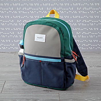 State Kane Green and Navy Backpack