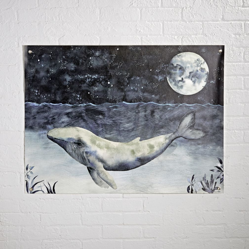 Watercolor Whale Night Banner