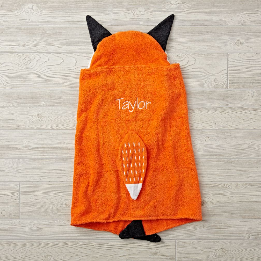 Personalized Petting Zoo Fox Hooded Towel