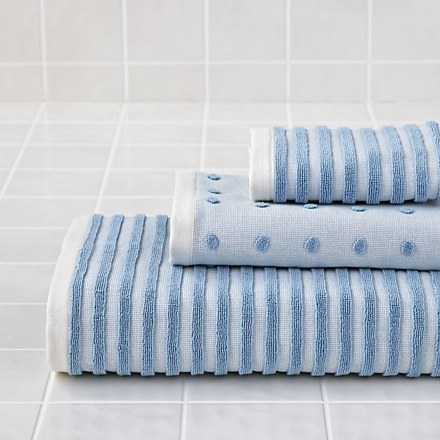 Organic Jacquard Bath Towels (Blue)