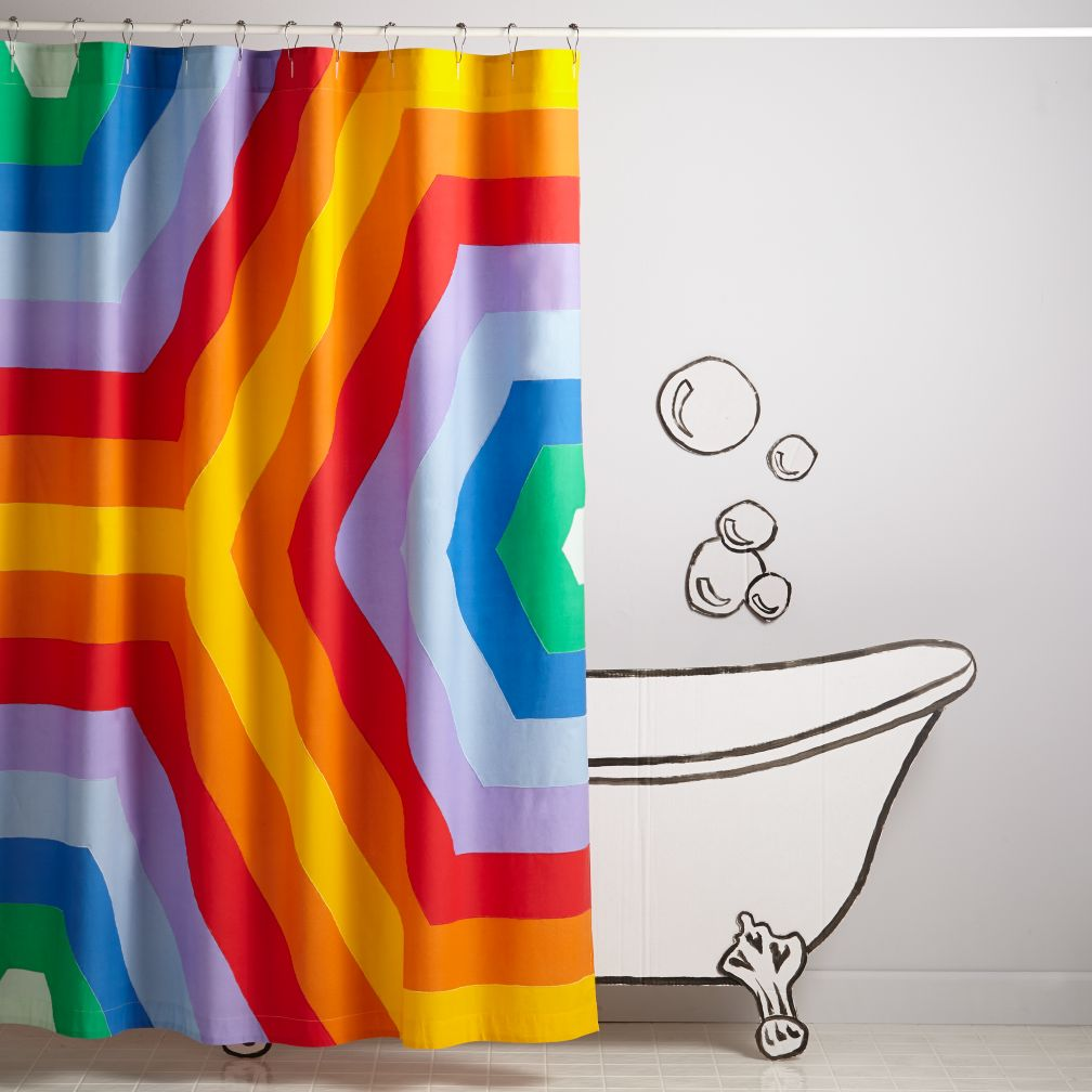 Mint green shower curtain and rugs - Rave Rainbow Shower Curtain