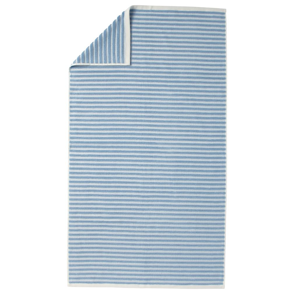 Organic Jacquard Bath Towel (Blue Stripe)