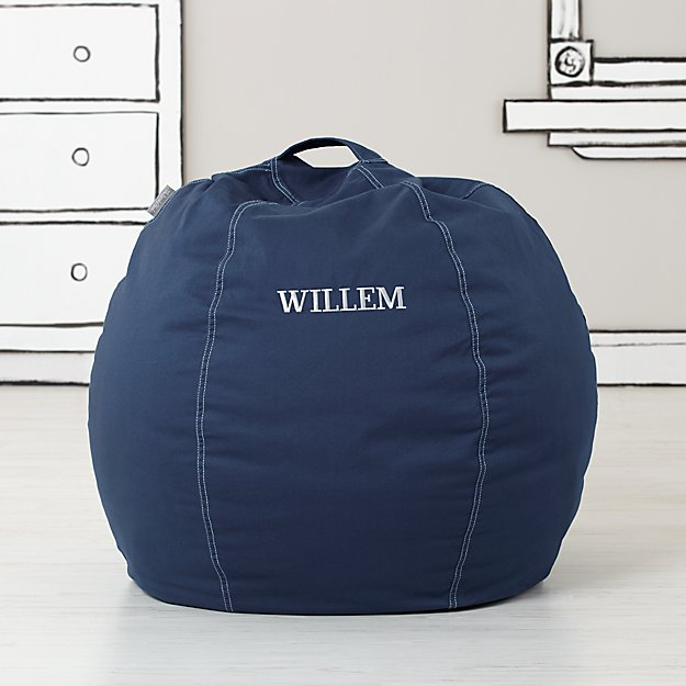 Small Personalized Dark Blue Bean Bag Chair