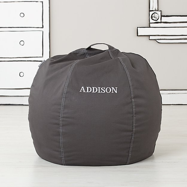 Small Personalized Grey Bean Bag Chair