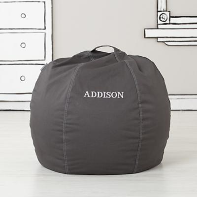 Small Personalized Grey Bean Bag Chair Cover