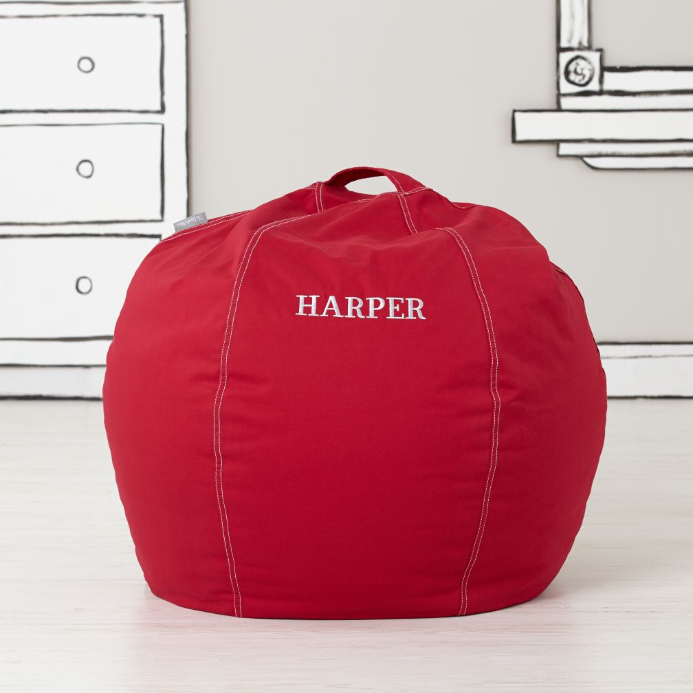 small red bean bag chair  the land of nod -
