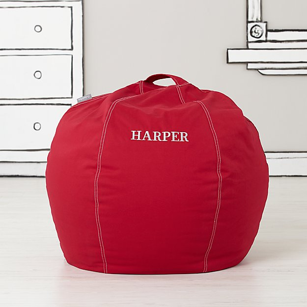 Small Personalized Red Bean Bag Chair Cover