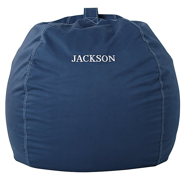 Large Personalized  Dark Blue Bean Bag Chair