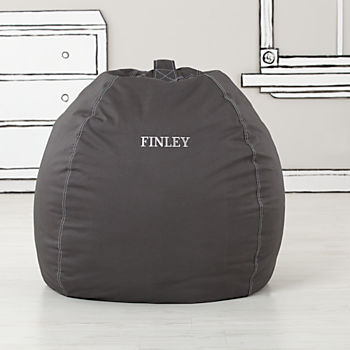 Large Personalized Grey Bean Bag Chair