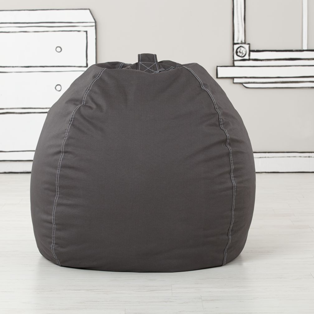 large grey bean bag chair the land of nod. Black Bedroom Furniture Sets. Home Design Ideas